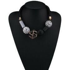Fashion Geometric Big Beads Cluster Rope Choker Collar Bib Statement Necklace