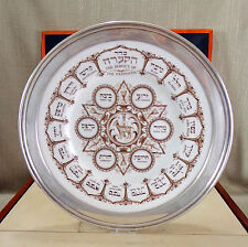 Rare Vintage Copeland Spode Jewish Seder Passover Plate Sterling Silver Pesach