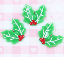 5 x Christmas HOLLY LEAVES Flatback Cabochon Embellishments Kawaii Craft Decoden