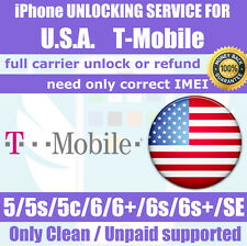 Factory unlock service USA T-Mobile iPhone SE 6s 6 6+ plus 5s 5c 5 Clean Unpaid