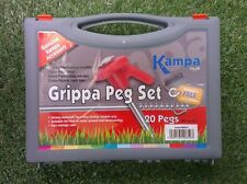 "20 GRIPPA PEG & PULLER SET tent pegs camping extractor carry case box 8"" 20cm"
