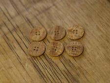 6x Plastic Wood/Fossil Effect Jacket Blazer Buttons 20mm