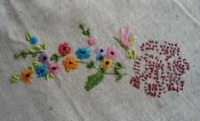 Vintage Tablecloth Raised Hand Embroidered Wild Flowers Pink Blue Hemstitch 29""