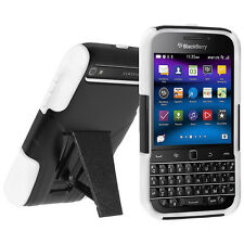 Amzer Soft + Hard Shell Hybrid Kickstand Case BlackBerry CLASSIC Q20 Black/White