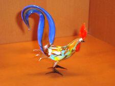 Blown Glass Rooster Figurine Russian Handmade Murano Style Hen Bird Miniature