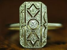 14kt 585 GOLD BICOLOR ART-DECO RING MIT 0,13ct BRILLANT & DIAMANT BESATZ / RG 52