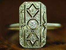 14kt 585 GOLD BICOLOR ART-DECO RING MIT 0,13ct BRILLANT & DIAMANT BESATZ / RG 52