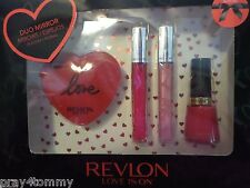 Revlon Love Is On Lips & Tips Gift Set HD Lip Lacquer Polish Cherries In Snow
