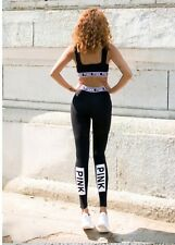 New Victorias Secret PINK Black & White Running Top And Leggings Set  XS UK 8