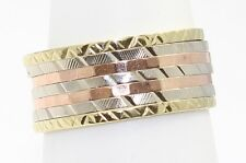 14k Tri-Color Gold Textured Band Ring