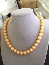 12-13MM Australian south sea golden pearl necklace 18inch 14k clasp