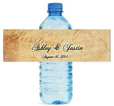100 Travel Theme Wedding Water Bottle Labels Personalized Bridal Party Event