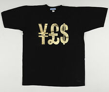 New 2K by Gingham YES ¥£$ Black & Gold Bling Money T-shirt Sizes S M L XL NWT