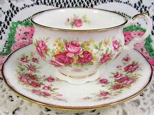 ELIZABETHAN QUEEN'S ROSE PINK RIBBED TEA CUP AND SAUCER