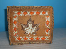 NATIVE AMERICAN GREAT LAKES REGION QUILL BOX W/HINGED LID AND LEAF DESIGN ON TOP