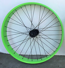 """Beach Cruiser 26"""" Front Fat WheelsRims with 36 spokes use disc brake Neon Green"""