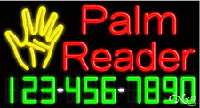"NEW PALM READER"" w/YOUR PHONE NUMBER 37x20 REAL NEON SIGN W/CUSTOM OPTIONS 15089"