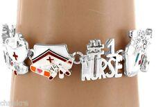 #1 Nurse Nursing Theme Charm Bracelet Gift Cap Hat Cute Silver USA Seller
