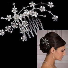 Bridal Wedding Charm Flower Crystal Rhinestones Pearls Women Hair Clip Comb