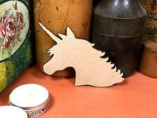 WOODEN MDF UNICORN HEAD SHAPES (x10) 10cm fairytale wood shape laser craft gift