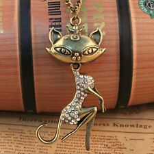 Sexy Cat Girl Crystal Rhinestone Pendant Long Chain Sweater Necklace Jewelry