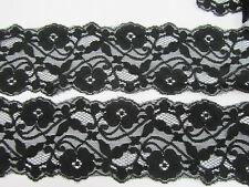 "5 yards Elastic Spandex/Stretch Black Soft Floral Lace 3"" inch Wide/Sewing T166"