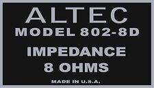 ALTEC Decal For 802-8D Driver.  Voice Of The Theater DECAL set of four (4)