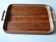 ANTIQUE WOODEN BUTLERS TRAY DRINKS TRAY MOULDED EDGE TURNED HANDLES WITH BRASS