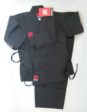 CHILDS MOOTO KARATE GI - BLACK OPEN MARTIAL ARTS UNIFORM (110cm)