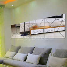 Motif 7pcs Moire miroir amovible Decal Art Mural Wall Sticker Home Decor