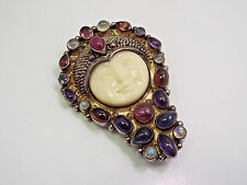 Sajen Sterling Silver Multi Gemstones Large Goddess Moon Face Brooch Pendant
