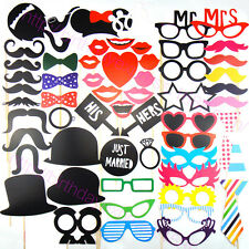 58pcs DIY Masks Photo Booth Wedding reception Funny Mustache Photography Props