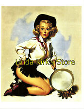Pin Up Girl PRINT Blonde Sexy Cowgirl With Frying Pan At Campfire