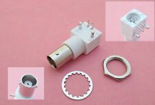 10 x White PC Board PCB Mount Right Angle BNC Female With Nut bulkhead Connector