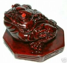 FENG SHUI ROSEWOOD 3 LEGGED MONEY TOAD ON A BAGUA SHAPE