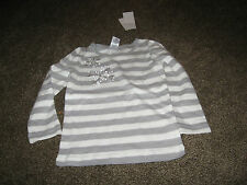NWT Gymboree Gray Striped  Long Sleeve Sparkle Flower 100% Cotton Top 4 4T