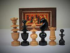 "ANTIQUE EARLY 20th CENTURY FRENCH CLUB CHESS SET K 4"" + ORGINAL BOX - NO BOARD"