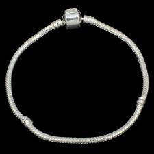Womens 925 Sterling Silver 3mm Plated Bracelet for Beads or Charms/7 inches long