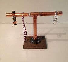 "Industrial 3/4"" Copper pipe Jewerly stand (Pick your own stain for the base)"