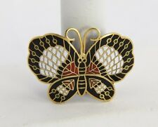 "ANTIQUE Jewelry CLOISONNE Enamel BUTTERFLY BROOCH ""C"" CLASP"