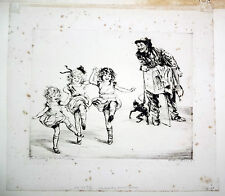 "20CT RUSSIAN ETCHING PRINT ""THE MONKEY MAN'S MUSIC"" by DIANA THORNE (Daw"