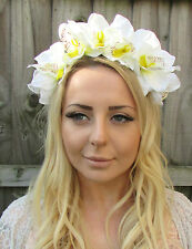 Large Ivory White Orchid Flower Headband Hair Crown Garland Fascinator Boho 1888