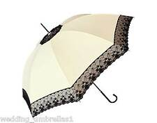 BLACK LACE/CREAM SHELTA LONG HANDLE RAIN / SUN WEDDING UMBRELLA 100cm Diameter