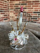 Vintage Mercury Glass Spikes and Candle,Pink Indents,White Tinsel, Decoration