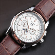 Gold Steel Leather Band Fashion Classic Mens Automatic Mechanical Wrist Watch