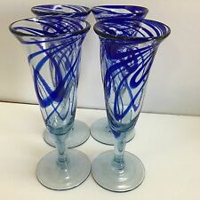 Cobalt Blue Swirl Mexican Hand Blown Glass Champagne Flutes, Set Of 4