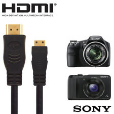 Sony HX20V, HX200V, A57 Digital Camera HDMI Mini to HDMI TV Monitor 2.5m Cable