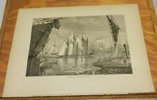 1874 Antique Print/SCENE ON EAST RIVER, NYC, b/w NEW YORK CITY FROM THE NARROWS