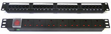 "Cat6 19"" 24 Port Patch Panel + 7 Way UK Power Unit, Rack Data Network RJ45"
