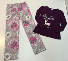 Gymboree Girl Outfit Cotton Pants & Sequin Embroidered Reindeer Top Size 10